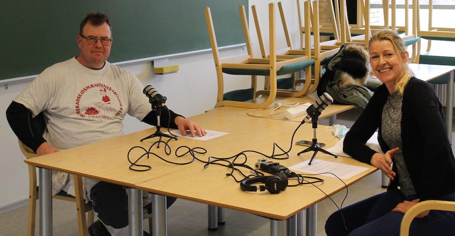 Pia og podcastgæst